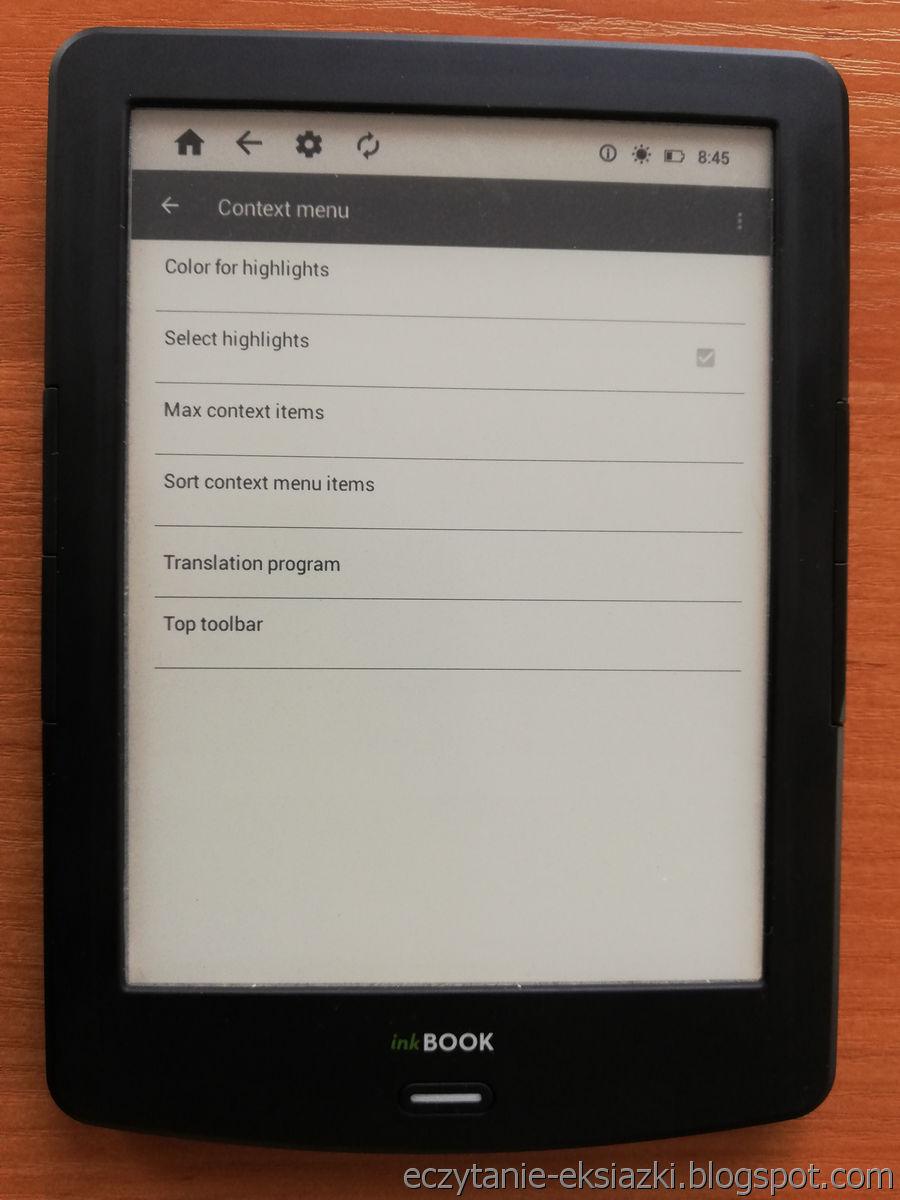 InkBOOK LUMOS – ustawienia kontekstowego menu w PocketBook Reader