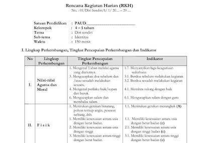 RKH PAUD K13 Revisi Tema Disi Sendiri