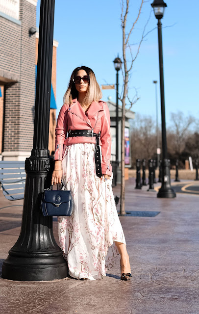 FLORAL SKIRT AND PINK MOTO JACKET