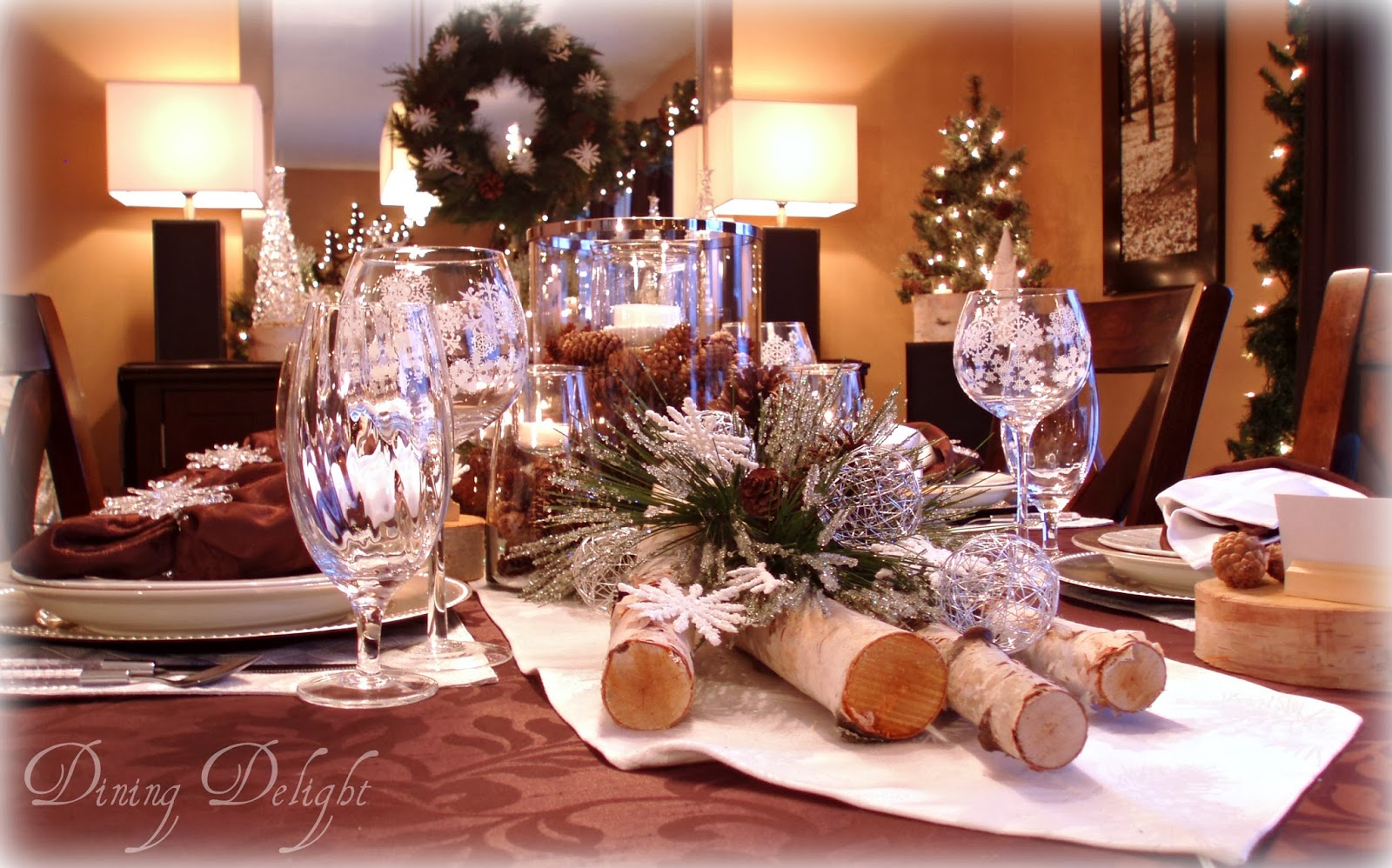 Dining Delight Birch Winter Tablescape