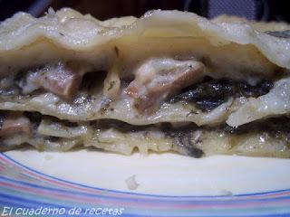 Lasaña de espinacas y champiñones