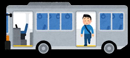 バスを降りる人のイラスト(男性・後ろのドア)