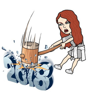Bitmoji girl hitting 2018 with hammer