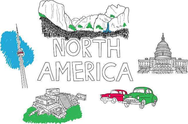 North America illustration with Yosemite waterfall, Toronto tower, Tulum ruins, cars in Cuba and the Whitehouse