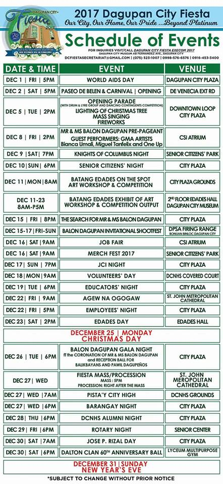 2017 Dagupan City Fiesta Schedule of Events