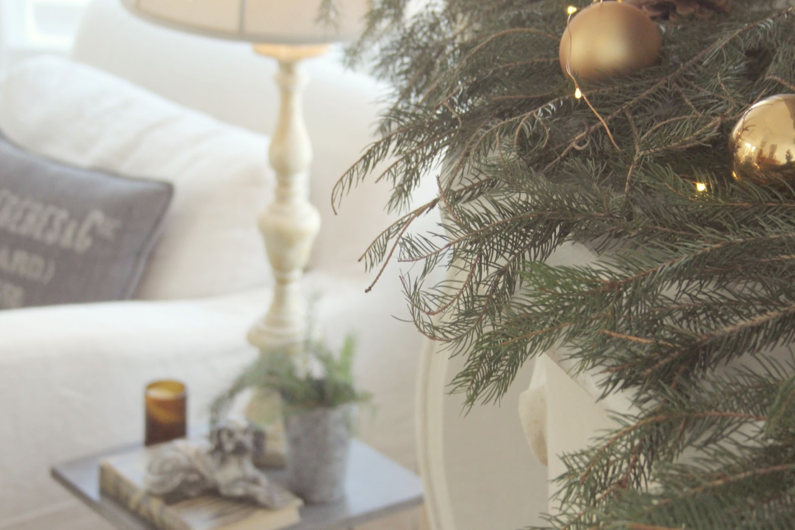 Christmas decor in living room - Hello Lovely Studio. Come be calmed by How to Freak Less About Holidays, Decorating and Gifts as well as Entertaining.