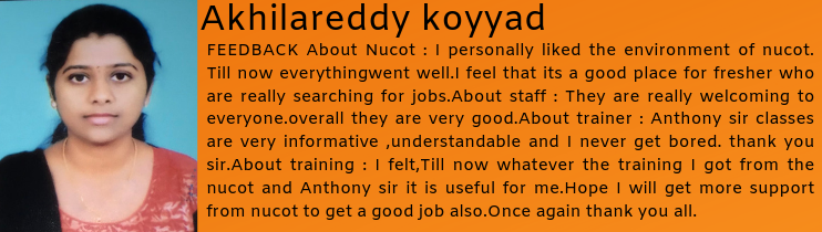 Akhilareddy koyyad- Testimonial / Review About Nucot