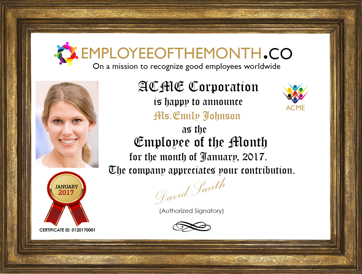 employee of the month certificate with photo