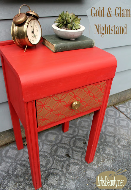 Gold and Glam Nightstand makeover diy paint deco art boho chic style home makeover