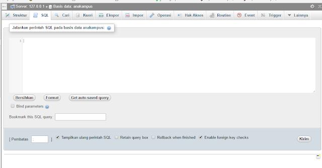 menuliskan sql di phpmyadmin