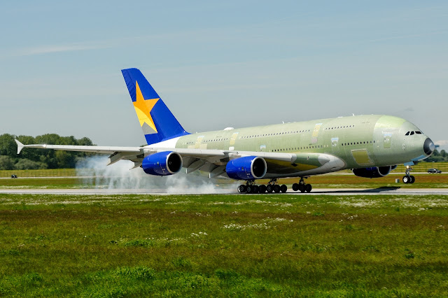 Skymark Airlines Airbus A380-800 Smokey Touching Down