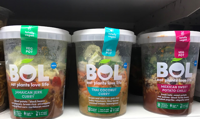 3 BOL Veg Pots on a shelf in clear plastic pots showing the contents