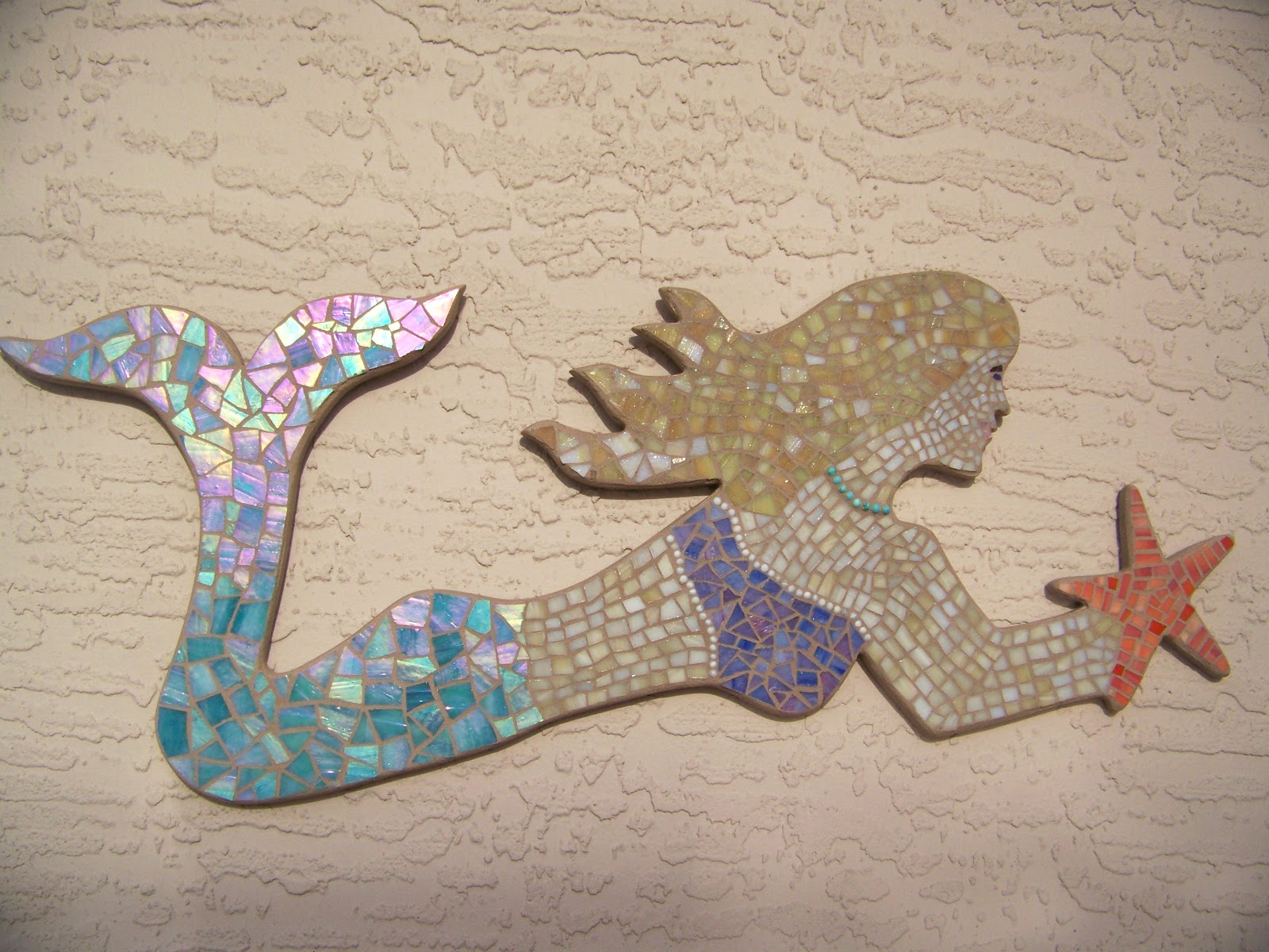 Blue Wave Glass: Mosaic Mermaid Wall Art - Beach Home Decor