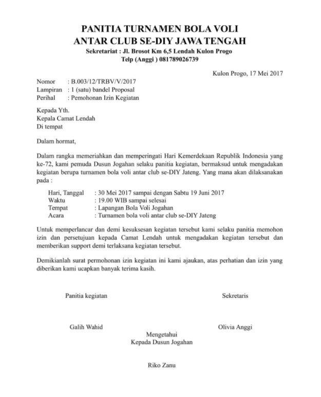 Contoh Surat Permohonan Izin Kegiatan - Contoh Surat