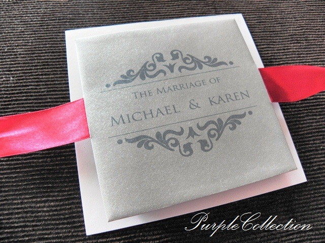 Grey Petal Fold Wedding Invitation Cards, 11cm x 11cm, Square Card, Grey and Maroon Petal Fold Wedding Card, Petal Fold Card, Metallic Grey Card Stock, grey, petal, fold, wedding, invitations, cards, invitation cards, grey petal fold, wedding dinner, red ribbon, diamond love