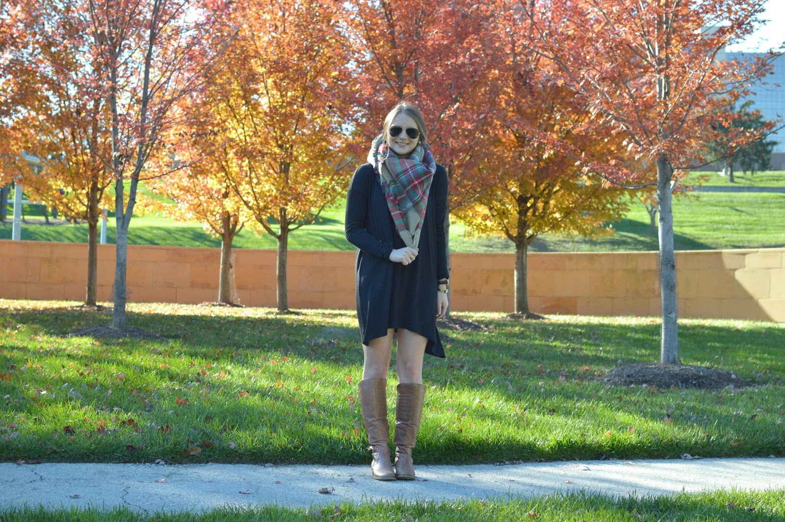 blanket scarf with a t-shirt dress