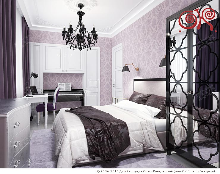 The Design Of The Small Bedroom In The Photo Above, In A Niche Formed By  White Cabinets, Neatly Inscribed Minimalist Black Piano.