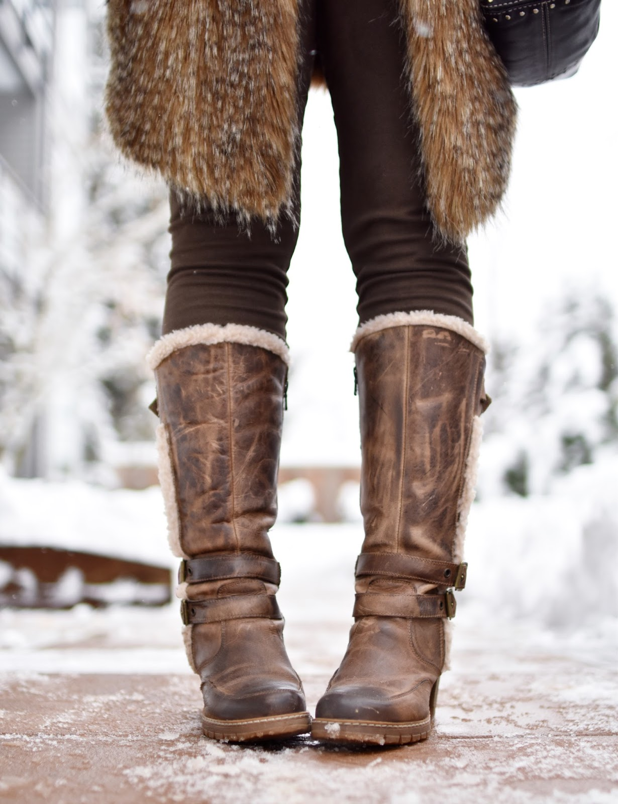 Monika Faulkner outfit inspiration - long faux-fur vest, vegan suede leggings, fleece-trimmed boots
