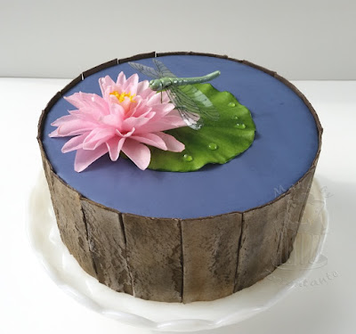 Water lily cake with wafer paper wood