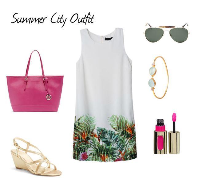 Strój na lato w mieście z białą sukienką