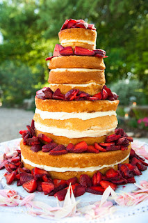 sweet and gorgeous strawberry shortcake wedding cake