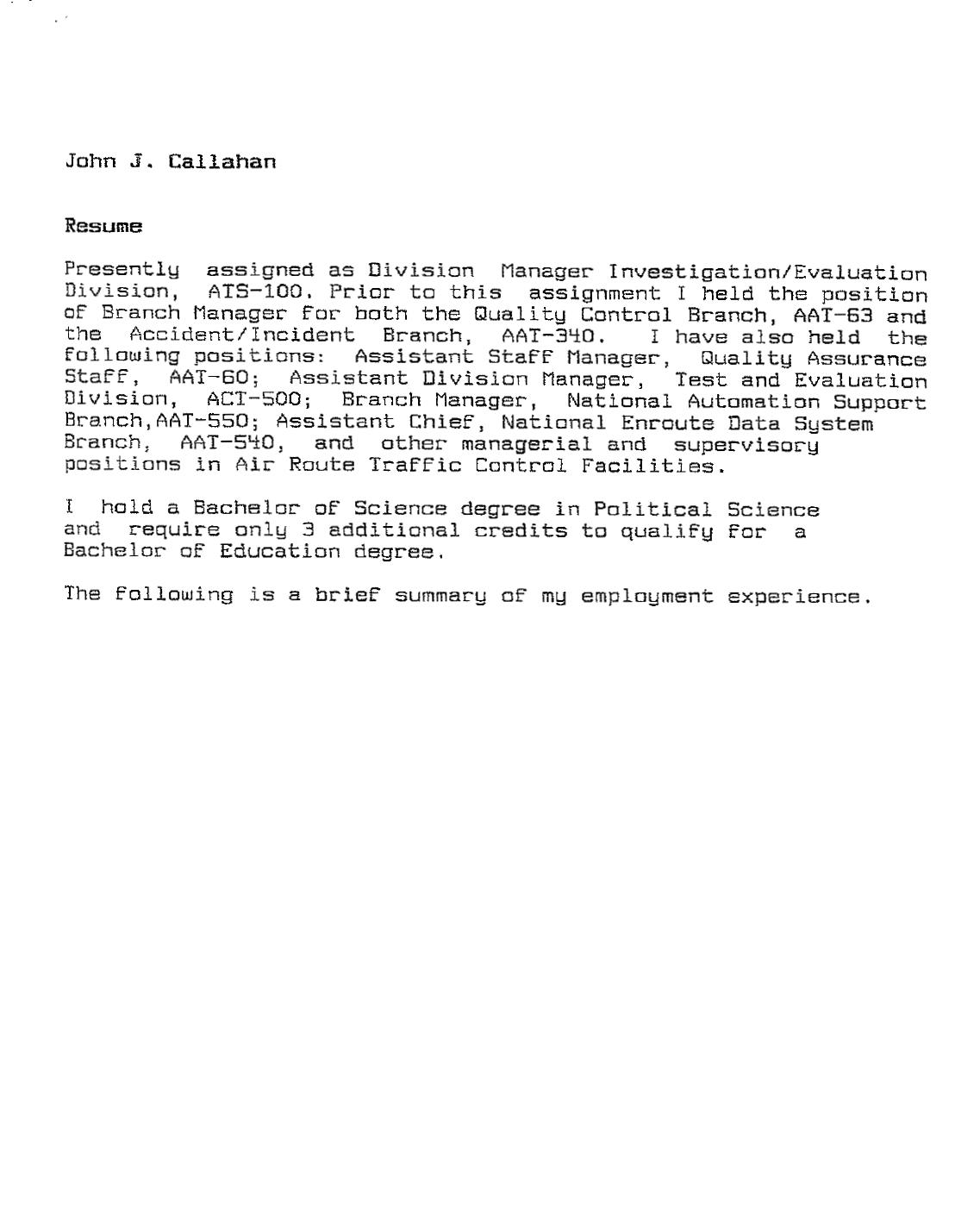 Material Tester Resume Sample: John Callahan & The JAL-1628 UFO Encounter; FAA