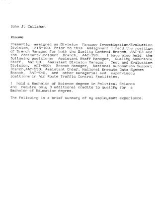 John Callahan's Resume Material