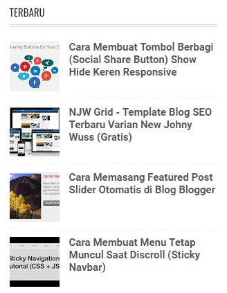 Tulisan Terbaru (Recent Post) di Sidebar Blogger