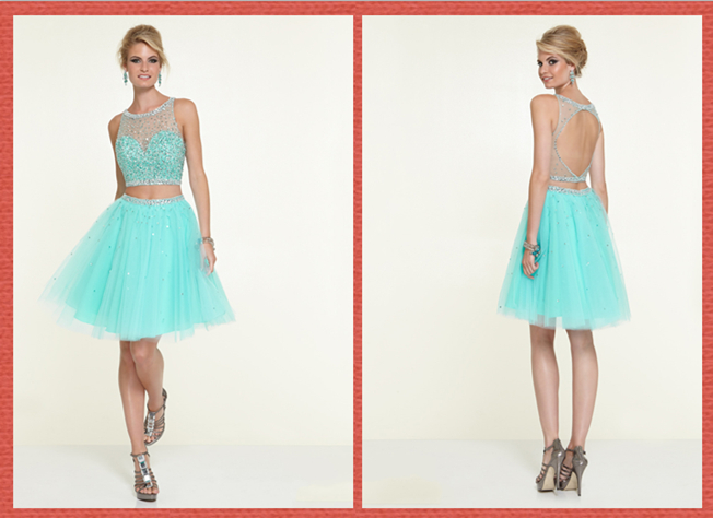 A-line Round Open Back Beaded Tulle Mini Two Piece Homecoming Dress