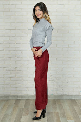 Bayan süet pantolon kırmızı renk