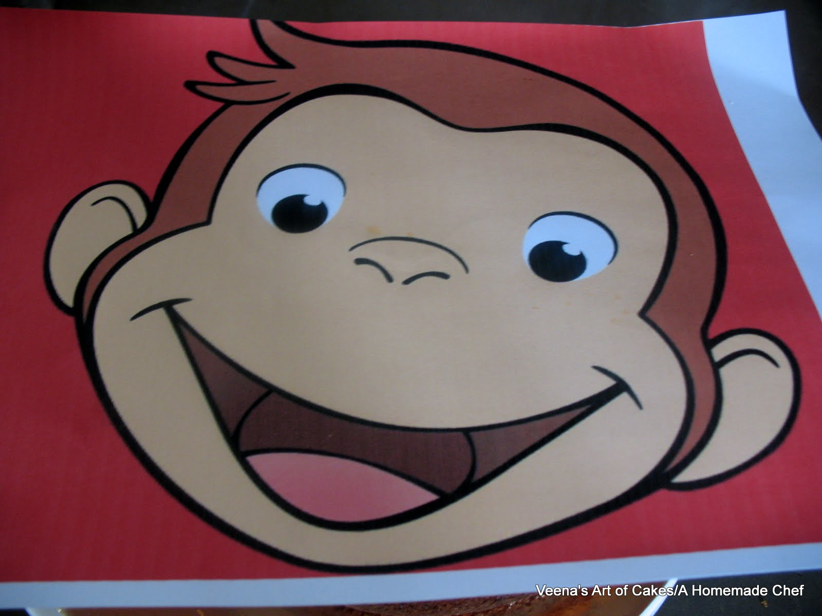 Curious george face cake veena azmanov for Curious george cake template