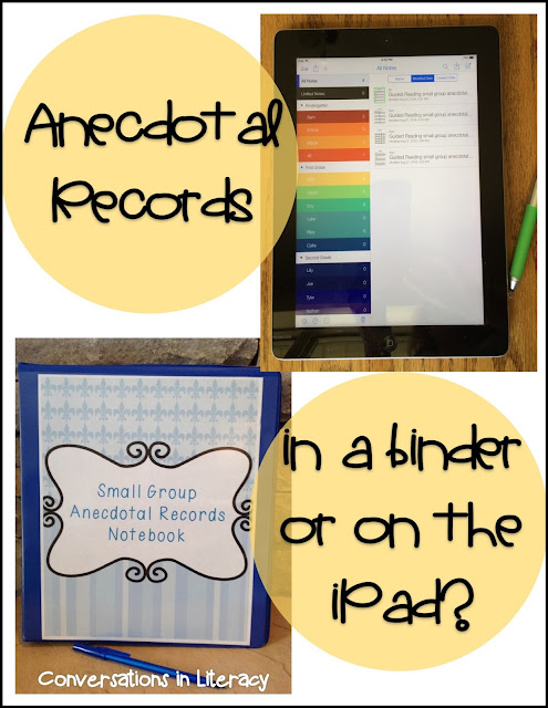 Keeping Anecdotal Records in a binder or on the iPad