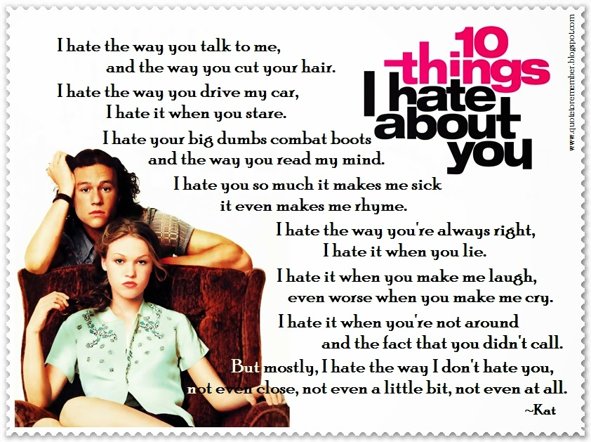 Bianca 10 Things I Hate About You Quotes: #10ThingsIHateAboutYou #HeathLedger #JuliaStiles