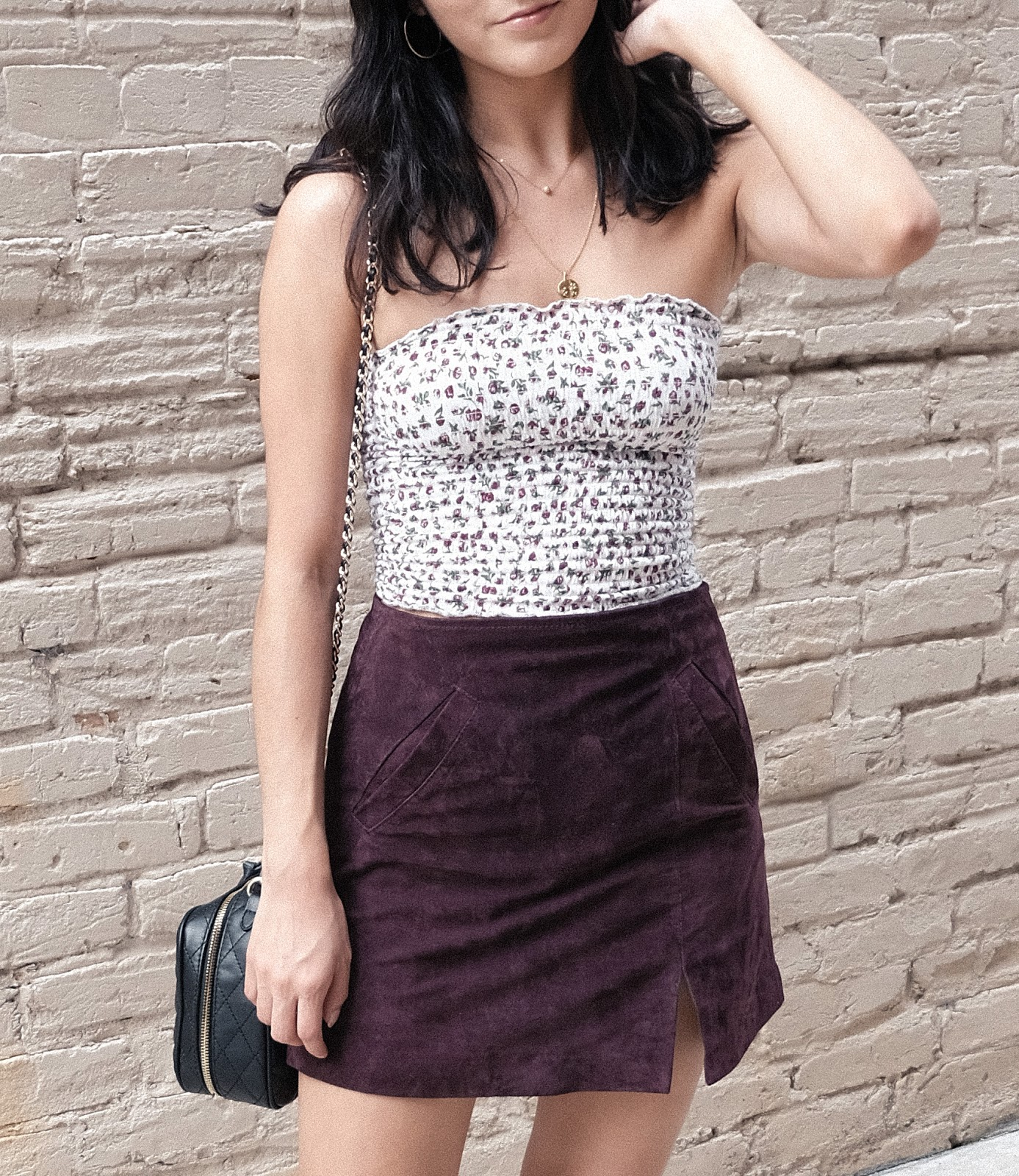 april soderstrom bijou necklace, blanknyc suede skirt, smocked tube top, adidas stan smith, easy casual outfits
