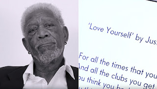 Morgan Freeman teary-eyed while reading Justin Bieber's Love Yourself