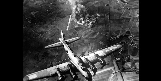 Bombing of a factory at Marienburg, Germany, on 9 October 1943. Credit: US Air Force, Public Domain