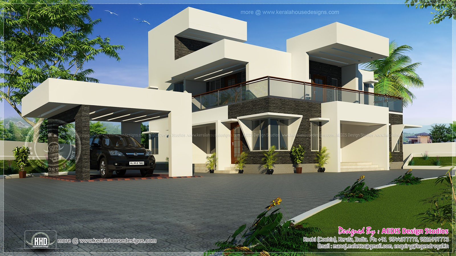 Modern contemporary style home exterior kerala home for Contemporary style homes in kerala