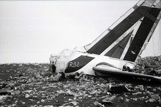 The tail fin of the ill-fated Alitalia Flight 112 after the aircraft broke up on a ridge of Montagna Longa