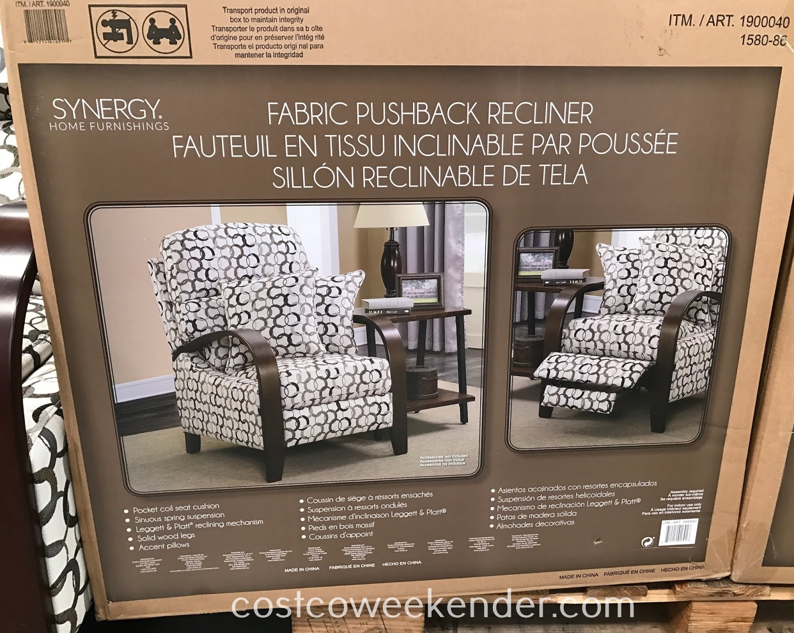 Costco 1900040 - Kick back and read or watch tv on the Synergy Fabric Pushback Recliner