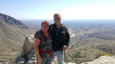 Taking a break at the 1000' mark along the Guadalupe Peak Trail.