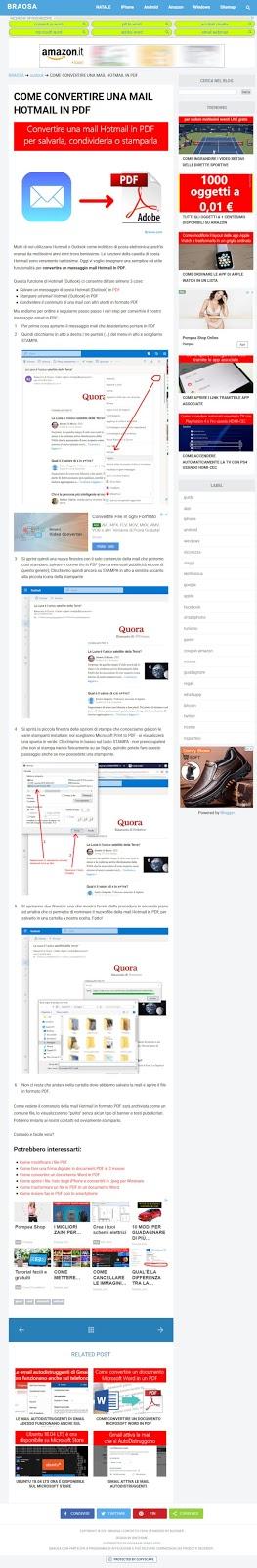 Esempio pagina di un articolo da leggere e stampare