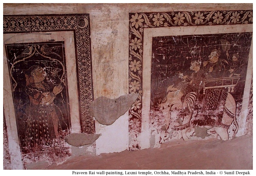 Parveen Rai wall-painting, Laxmi temple, Orchha, Madhya Pradesh, India - Images by Sunil Deepak