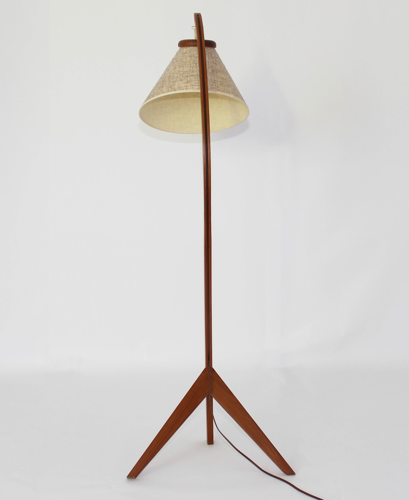 Melrose Mid Century Brass White Shade Floor Lamp: Mansion Decor: Mid Century Danish Teak Bow Floor Lamp