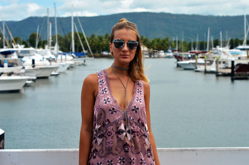 summer outfit idea boho print dress with crochet detailing wrap choker marble sunglasses