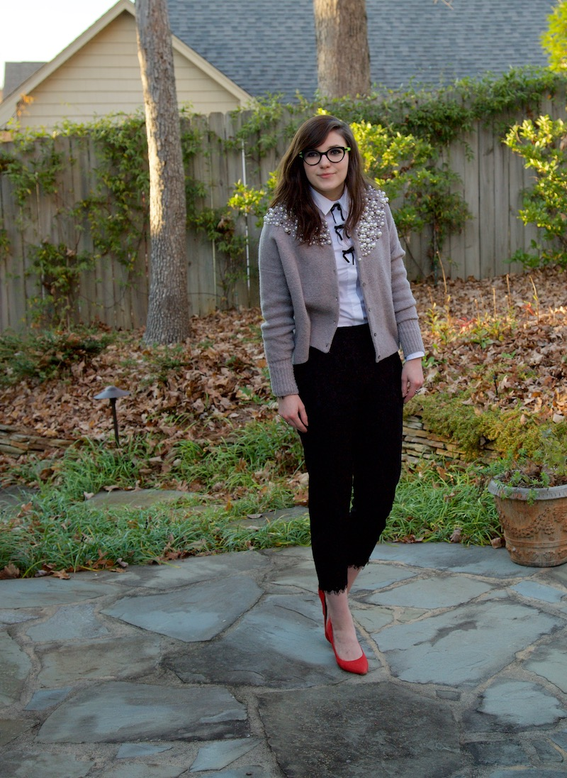 2017, OOTD, winter, button-down, dress pants, girly, J.Crew, lace, pearls,