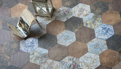 hexagonal pattern for flooring tile designs in different colors