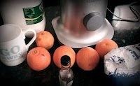 orange smoothie ingredients, oranges, milk, sugar, vanilla extract, ice cream, ice cubes, blender,