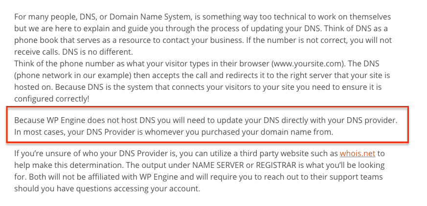 WP Engine DNS Update