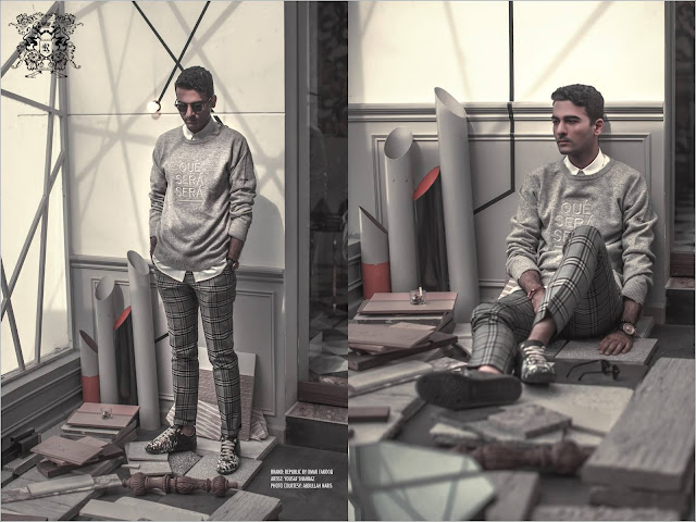 menswear/mens fashion style and profile photo shoot of architect yousaf shahbaz of strata lahore with republic by omar farooq shot by abdullah haris films in yousaf's office featuring the autumn/winter 2015 collection plaid pants