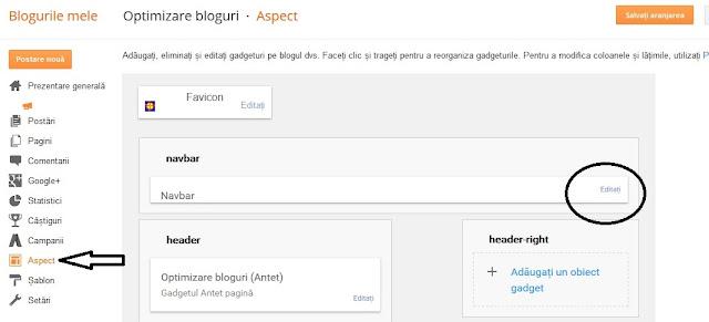 Cum eliminam Navbar din Blogger